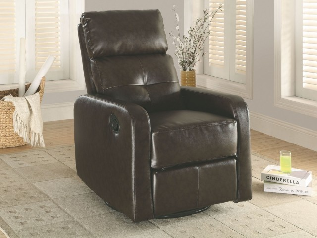 Dark Brown Swivel Glider Recliner