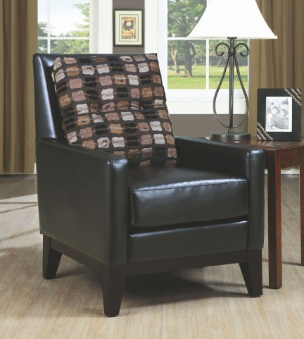 Dark Brown Chair With Accent Pillow