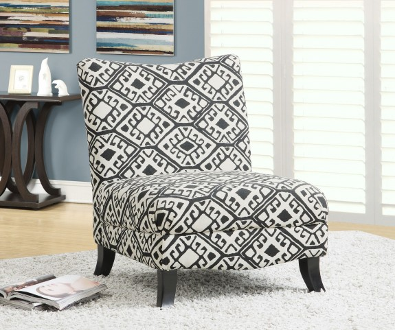 Black/Beige Abstract Fabric Accent Chair