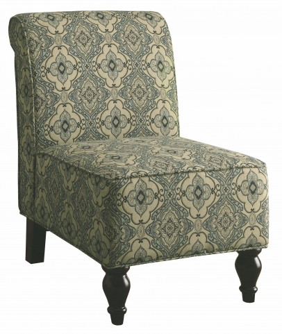 8124 Turquoise / Blue Tapestry Fabric Traditional Accent Chair