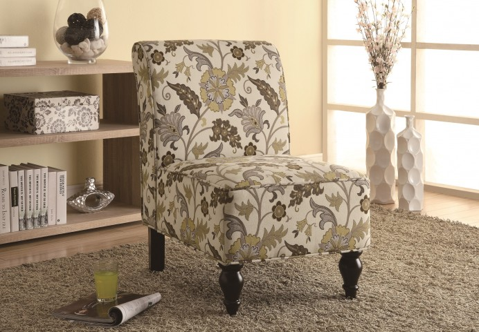 8125 Brown / Gold Floral Traditional Accent Chair