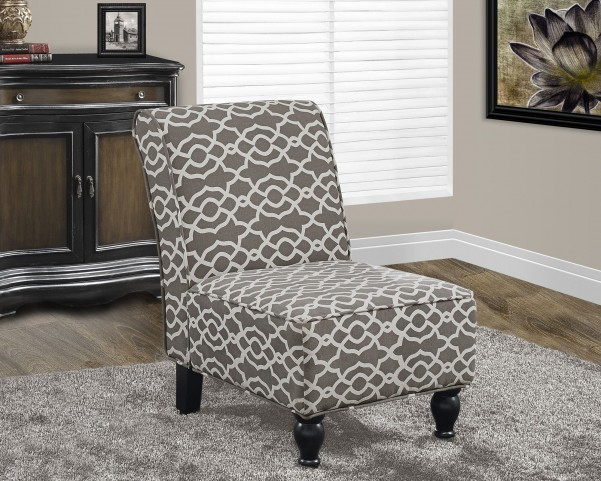 Brown Bell Pattern Fabric Accent Chair