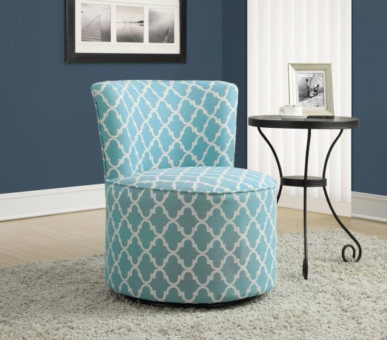 Light Blue Lantern Fabric Swivel Accent Chair