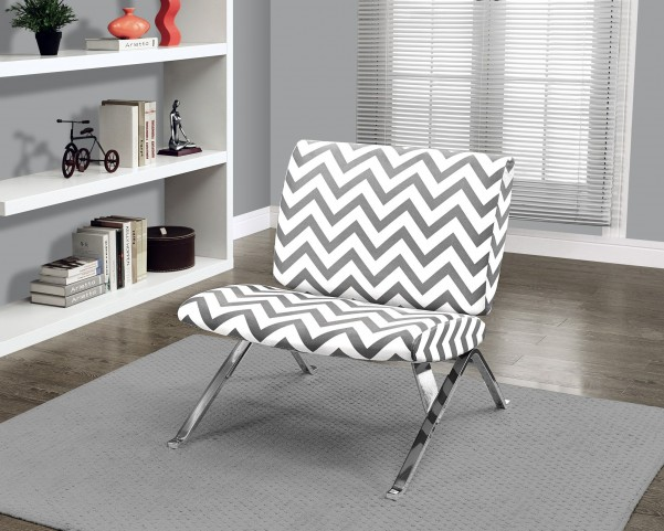 gray Chevron Fabric/Chrome Metal Accent Chair