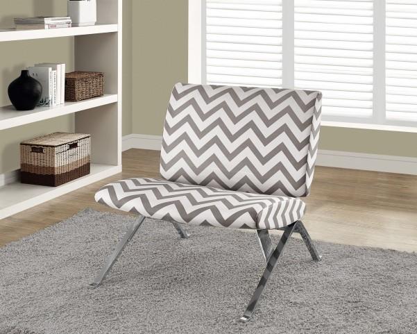 Dark Taupe Chevron Fabric/Chrome Metal Accent Chair