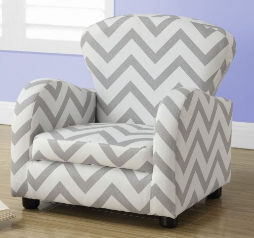 Gray Chevron Fabric Juvenile Chair