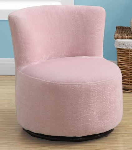 Fuzzy Pink Fabric Juvenile Swivel Chair