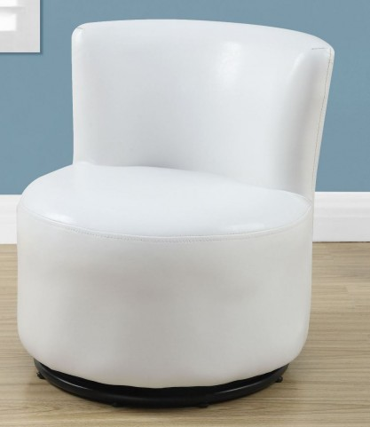 White Leather Juvenile Swivel Chair