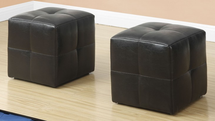 Dark Brown Leather Juvenile Ottoman Set of 2