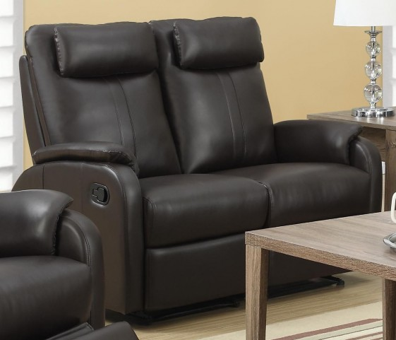81BR-2 Brown Bonded Leather Reclining Loveseat