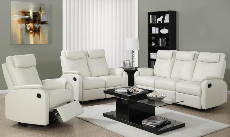 81IV-3 Ivory Bonded Leather Reclining Living Room Set