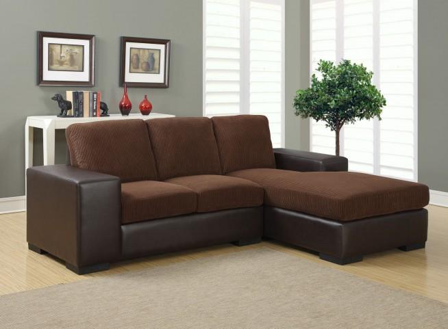 Dark Brown Corduroy/Brown Sofa Sectional