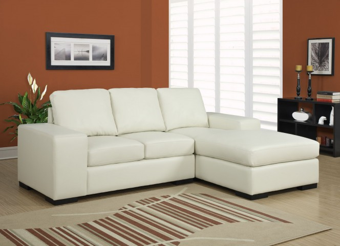 Ivory Match Plastic Block Leg Sofa Sectional