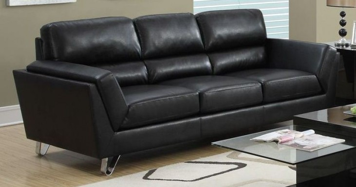 Black Bonded Leather Match Sofa