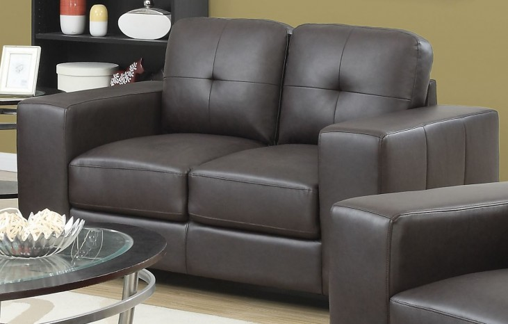 8222BR Dark Brown Bonded Leather Loveseat