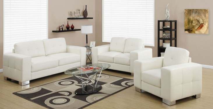 8223IV Ivory Bonded Leather Living Room Set