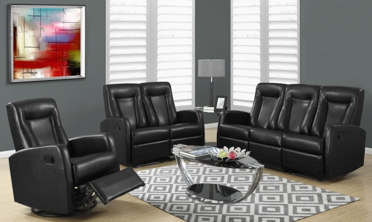 82BK-3 Black Bonded Leather Reclining Living Room Set