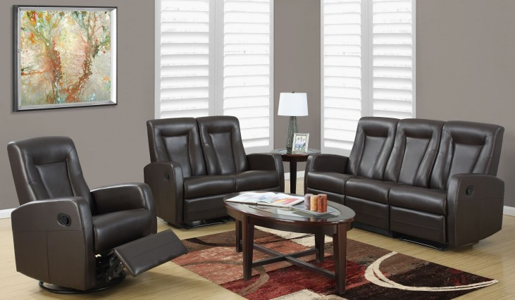 82BR-3 Brown Bonded Leather Reclining Living Room Set