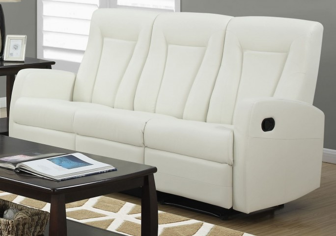 82IV-3 Ivory Bonded Leather Reclining Sofa