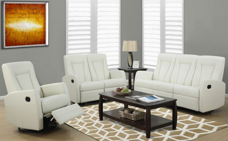 82IV-3 Ivory Bonded Leather Reclining Living Room Set