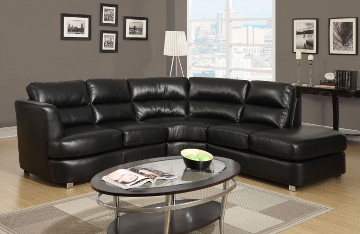 Black Bonded Leather Match Tufted Sectional