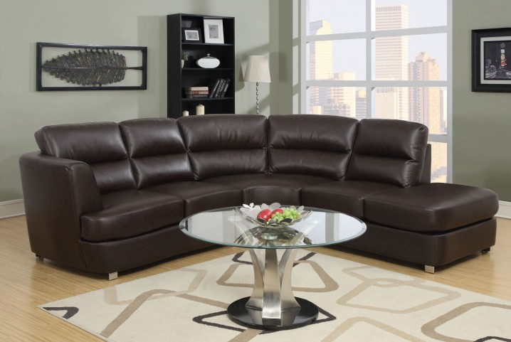 Dark Brown Bonded Leather Match Sectional
