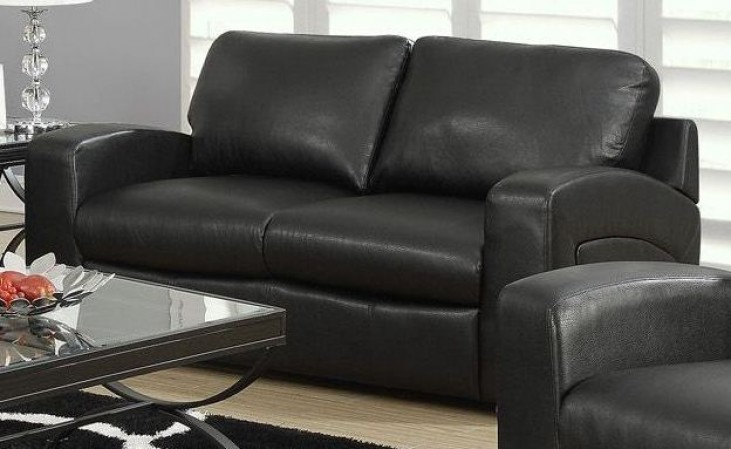 Black Bonded Leather Match Sloped Back Loveseat