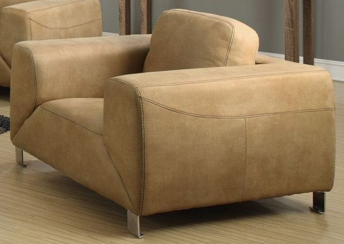 Tan/Chocolate Brown Contrast Micro-Suede Chair