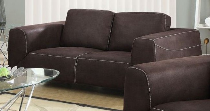 Chocolate Brown/Tan Contrast Micro-Suede Loveseat