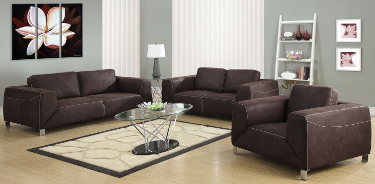 Chocolate Brown Microsuede Living Room Set