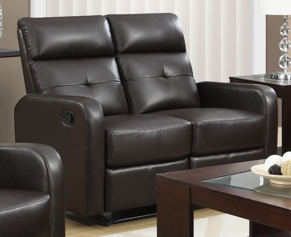 85BR-2 Brown Bonded Leather Reclining Loveseat