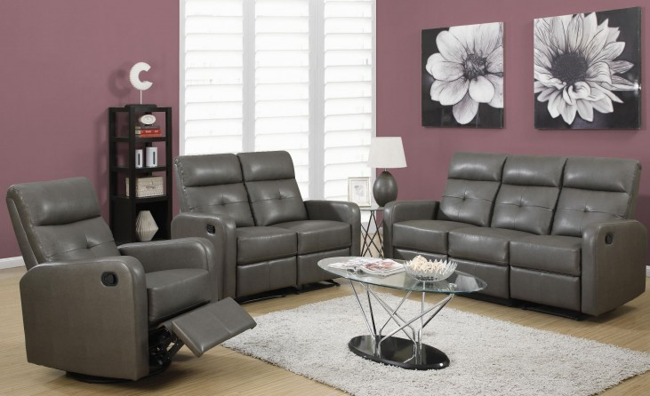 85GY-3 Charcoal Gray Bonded Leather Reclining Living Room Set