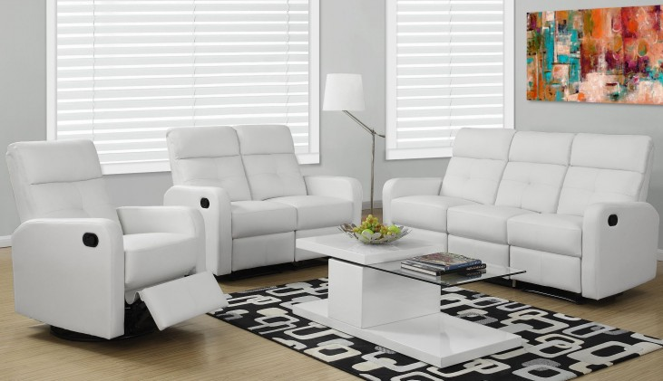 85WH-3 White Bonded Leather Reclining Living Room Set
