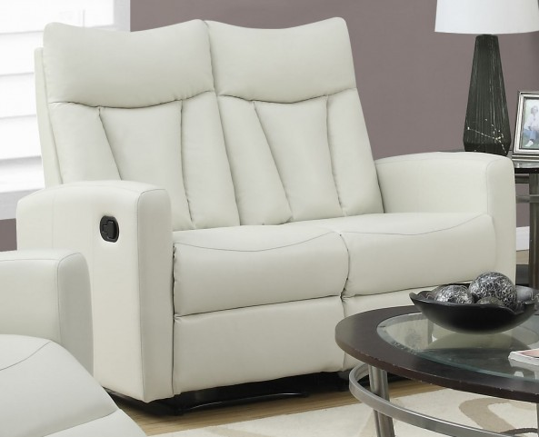 817IV-2 Ivory Bonded Leather Reclining Loveseat