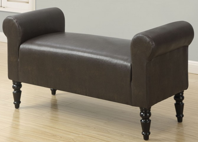 Style Dark Brown Leather Bench