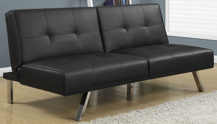 8935 Black Leather Split Back Click Clack Futon