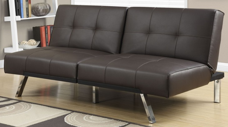 8936 Dark Brown Leather Split Back Click Clack Futon