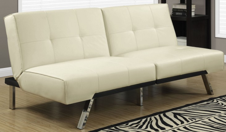 8938 Ivory Leather Split Back Click Clack Futon