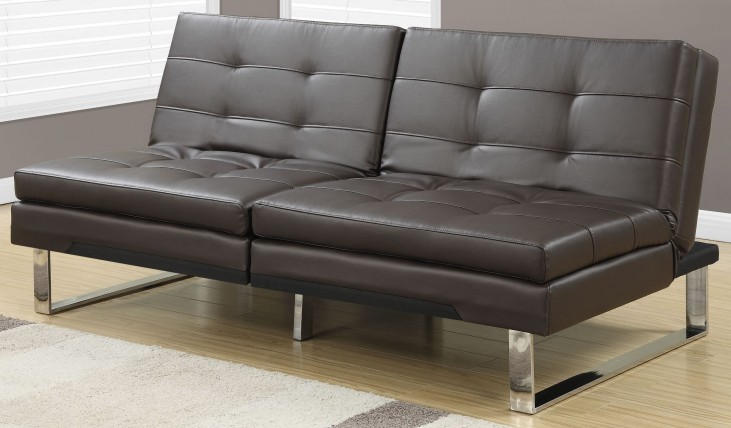 8949 Dark Brown Leather Split Back Click Clack Futon