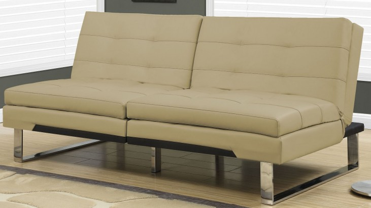 8950 Taupe Leather Split Back Click Clack Futon