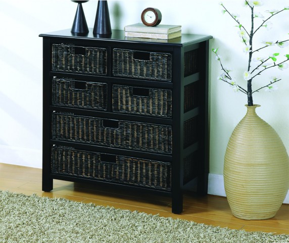 8955 Distressed Black 6 Basket Drawer Chest