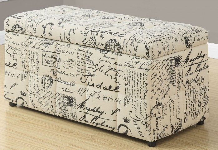 Vintage French Fabric Storage Ottoman