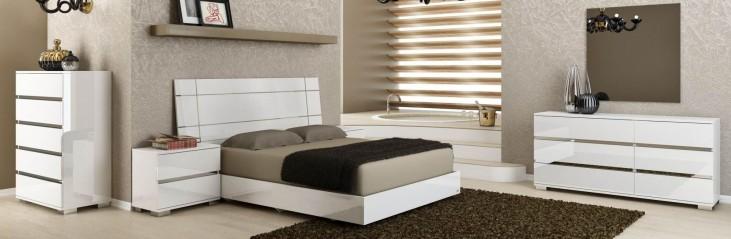 Vivente Icon White High Gloss Platform Bedroom Set