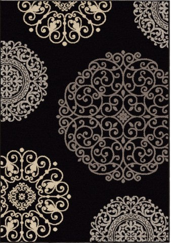 Orian Rugs Soft Medallion Fernandez Black Area Small Rug