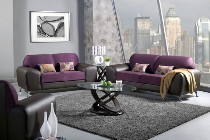 Avdira Grape Suede and Leatherette Living Room Set