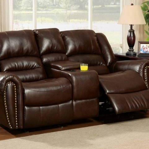 Dudhope Dark Brown Reclining Console Loveseat