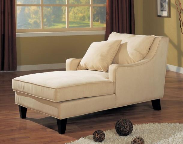 Cream Microfiber Chaise Lounger - 500029