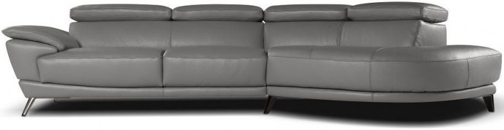 Marisol Grey Italian RAF Chaise Leather Sectional
