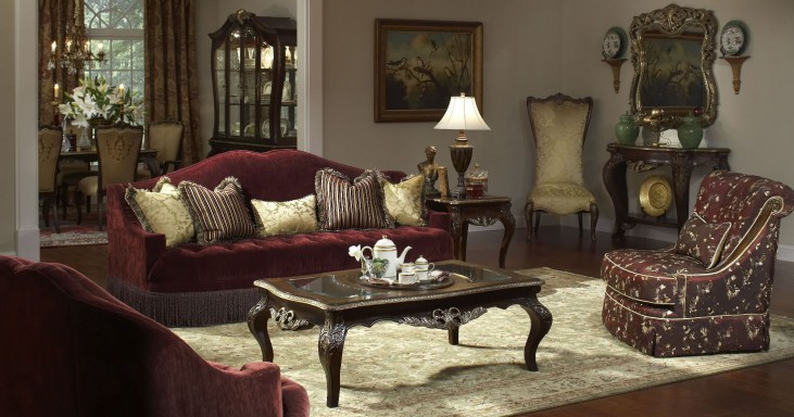 Imperial Court Eggplant Living Room Set