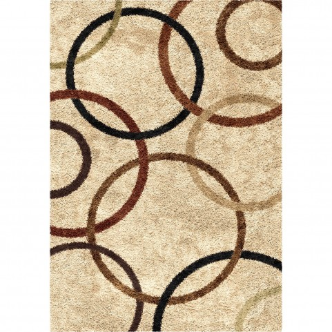 Circle Design Bisque Medium Rug